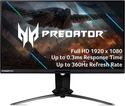 "Acer Predator X25 24.5"" Gaming Monitor FullHD 1920x1080 IPS 360Hz 1ms VRB 400Nit | X25 bmiiprzx"