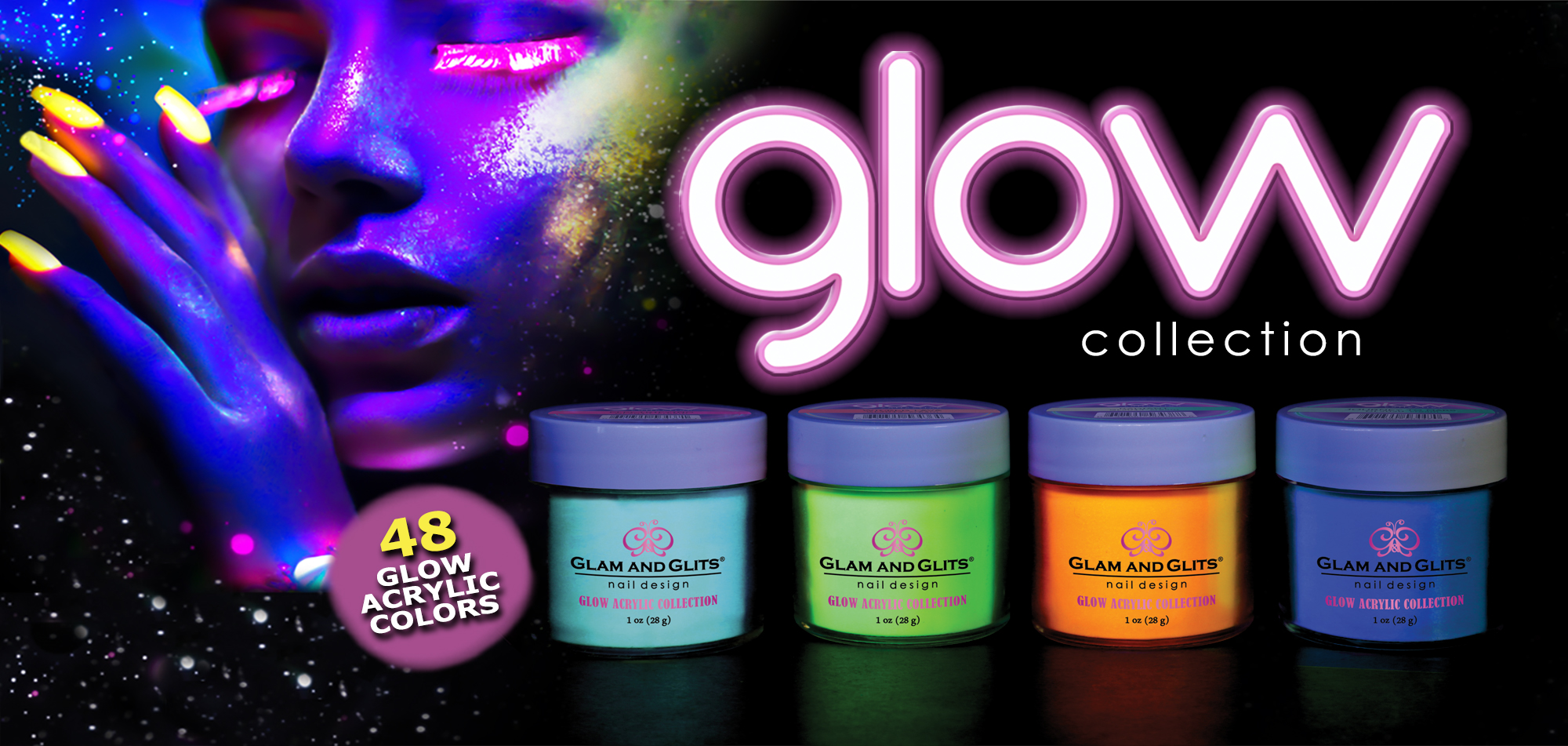 Rich Pigmented Acrylic Colors, Glitter Acrylics, Hundreds of