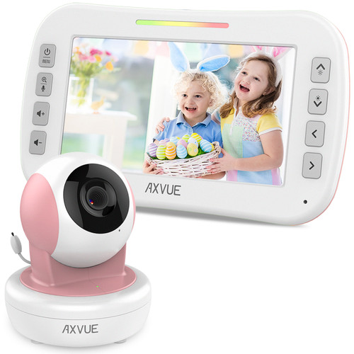 "Video Baby Monitor with 4.3"" Screen and Remote-Controlled Camera PINK"