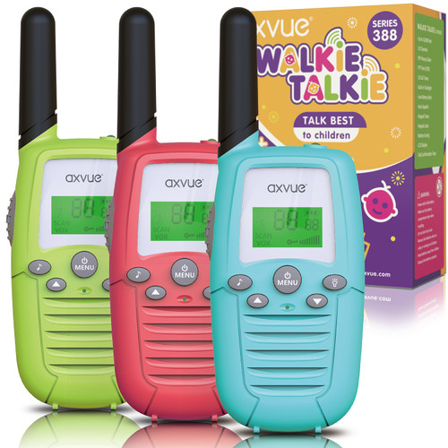 AXVUE Walkie Talkies H-388 for Kids, 3 KMs Long Range 22 Channels Two Way Radios for Boys and Girls, Walky Talky for Age 3-12 Years Old Kids, Outside Play Toys for Hiking Camping (Pink/Blue/Green)