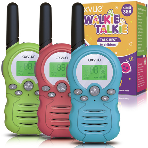 AXVUE Walkie Talkies T-388A for Kids, 3 KMs Long Range 22 Channels Two Way Radios for Boys and Girls, Walky Talky for Age 3-12 Years Old Kids, Outside Play Toys for Hiking Camping (Pink/Blue/Green)