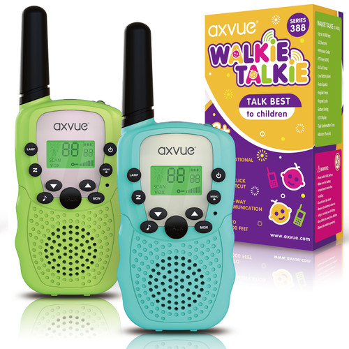 AXVUE Walkie Talkies T-388 for Kids, 3 KMs Long Range 22 Channels Two Way Radios for Boys and Girls, Walky Talky for Age 3-12 Years Old Kids, Outside Play Toys for Hiking Camping (Blue/Green)
