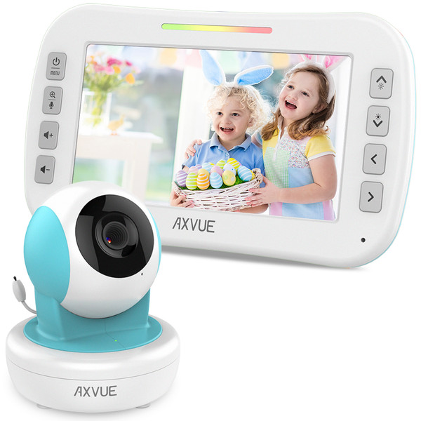 "Video Baby Monitor with 4.3"" Screen and Remote-Controlled Camera BLUE"