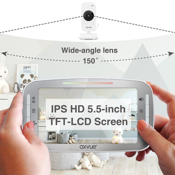 """Video Baby Monitor A1080DU 5.5"""" Fabulous Full HD IPS Screen and Remote-Controlled Cameras"""