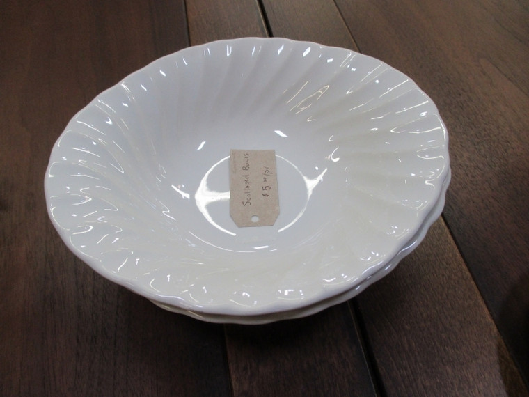Pair of White Scalloped Bowls