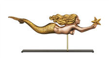 Mermaid Copper Weathervane Sculpture on Mantel Stand