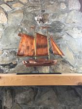 Large Copper Schooner with Mantle Base