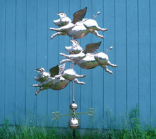 Large Three Flying Pig Weathervane