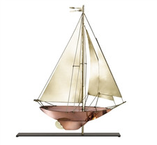 Racing Sloop Copper Weathervane Sculpture on Mantel Stand