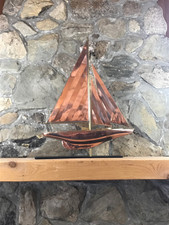 Large Copper Sailboat with Mantle Base