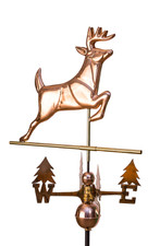 Leaping Whitetail Deer Weathervane with tree directionals