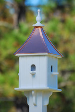 "10""W x 28""H - Square Blue Bird House with Perches"