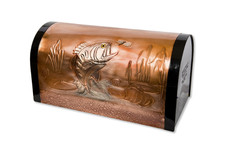 Rural Large Mouth Bass and Lily Pads Copper Mailbox