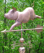 Jumbo Whimsical Pig Weathervane