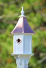 "10""W x 28""H - Hexagon Blue Bird House"