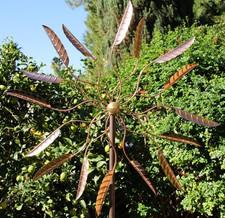 Large Kinetic Copper Loquat Leaf Wind Spinner
