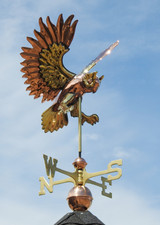 Flying Owl Weathervane With Brass Accents