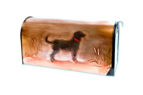 Rural Black Lab Copper Mailbox