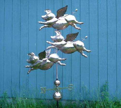 Large Three Flying Pig Weathervane