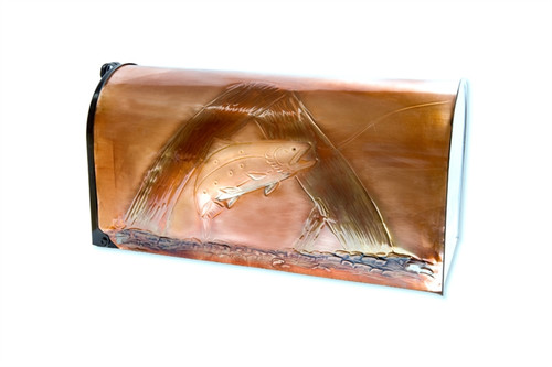 Rural Brown Trout Copper Mailbox