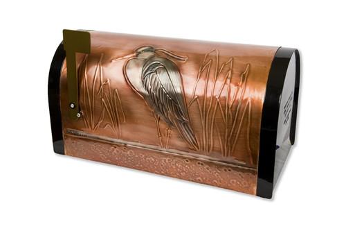 Rural Great Blue Heron Copper Mailbox
