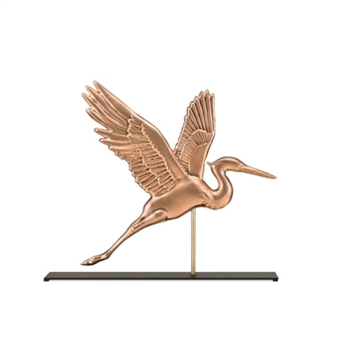 Blue Heron Copper Weathervane Sculpture on Mantel Stand