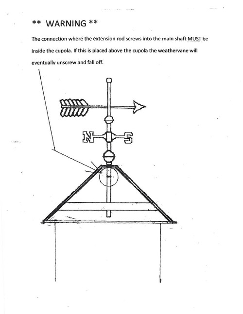 """WEATHERVANE 12/"""" EXTENSION ROD FOR 3//4/"""" POST"""