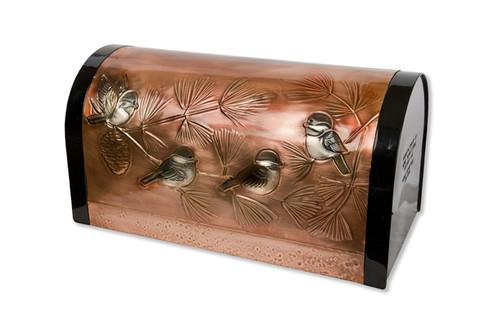 Classic Chickadee and Pine Copper Mailbox