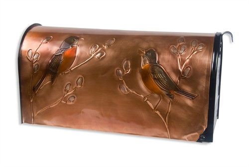 Rural Robin and Pussywillow Copper Mailbox