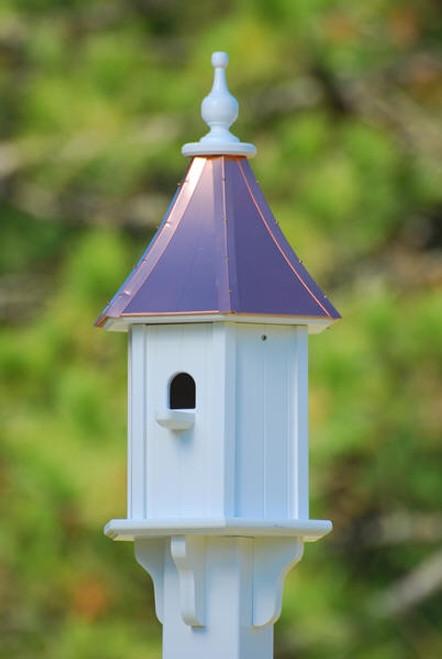 "10""W x 28""H - Hexagon Blue Bird House with Perch"
