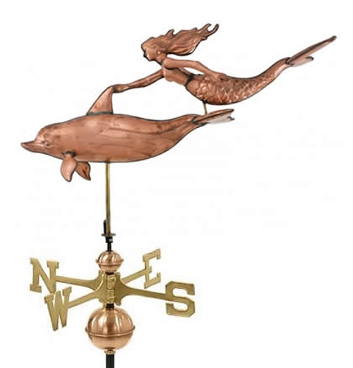 Large Mermaid and Dolphin Weathervane