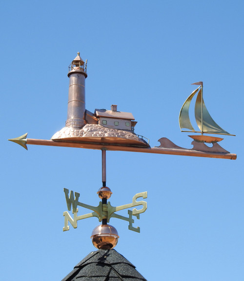 Lighthouse and Sailboat Weathervane