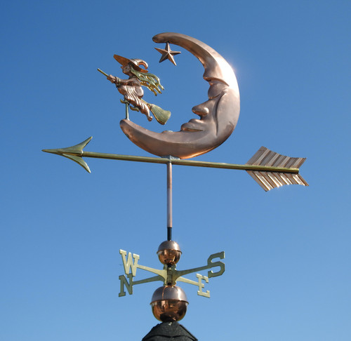 Large Moon and Witch Weathervane