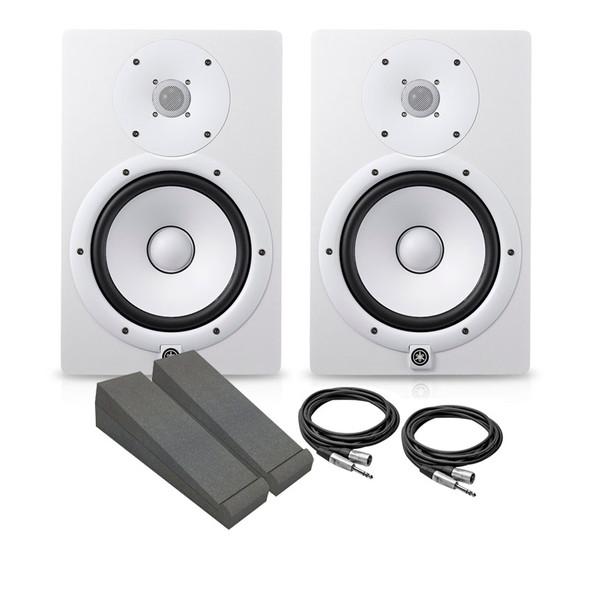 Yamaha HS8W Active Studio Monitor Bundle, White