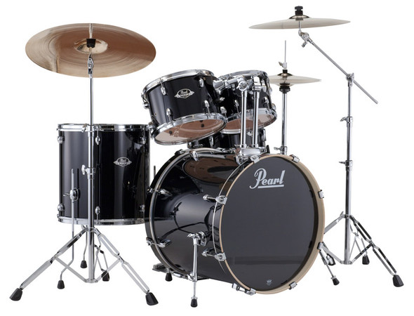 Pearl Export USA Fusion in Gloss Black complete with Hardware and Sabian SBR Cymbals
