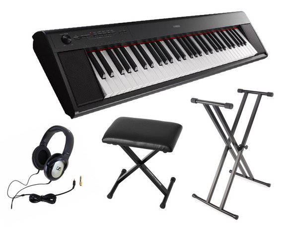 Yamaha NP-12 Piaggero Piano Bundle, Black, with Headphones, Bench and Stand