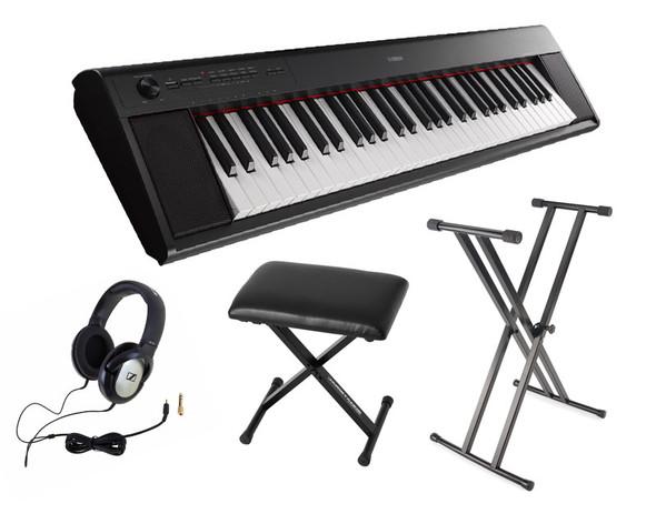 Yamaha NP-12 Piaggero Piano Bundle, Black, with Headphones, Bench and Stand