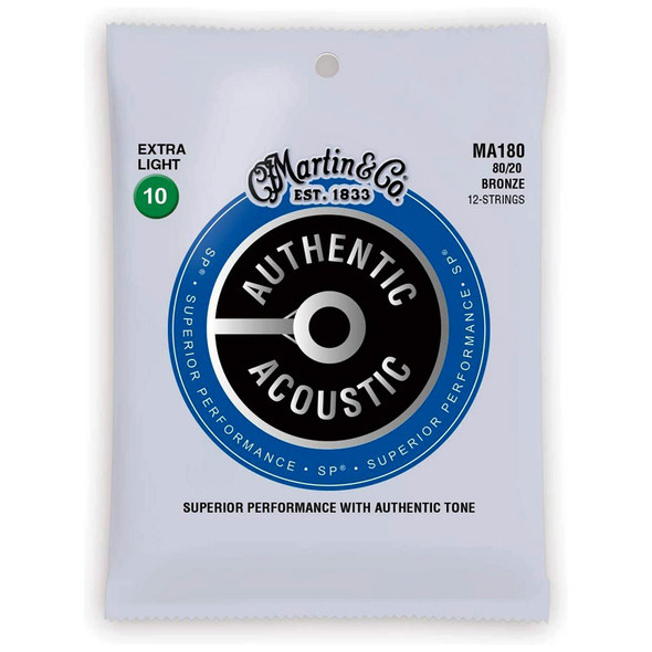 Martin MA180 80/20 Extra Light 12-String Acoustic Guitar Strings (10-47)
