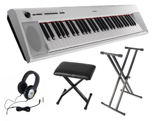 Yamaha NP-12 Piaggero Piano Bundle, White,  with Headphones, Bench and Stand