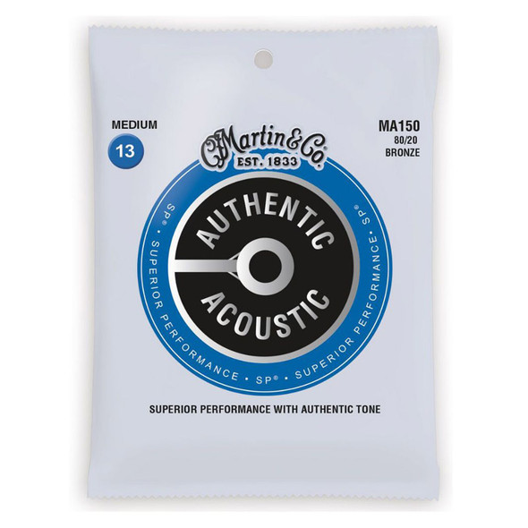 Martin MA150 Authentic Acoustic SP 80/20 Bronze Medium Acoustic Guitar Strings, 13-56