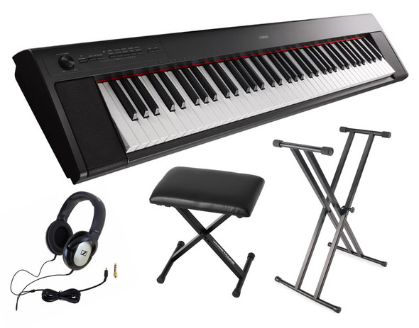 Yamaha NP-32 Piaggero Piano Bundle, Black, with Headphones, Bench and Stand