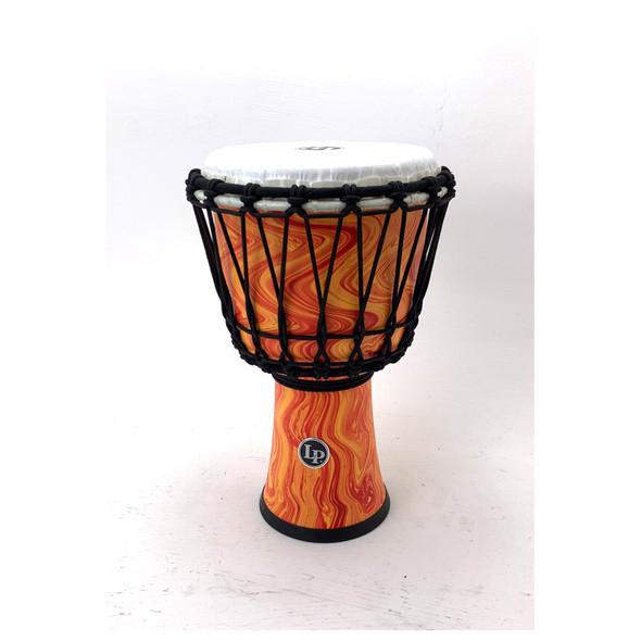 Latin Percussion 7-inch Rope Tuned Circle Djembe w/ Perfect-Pitch Head, Orange Flame