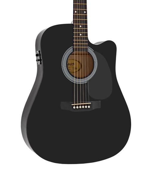 Fender Squier SA-105CE Dreadnought Cutaway Electro Acoustic Guitar, Black