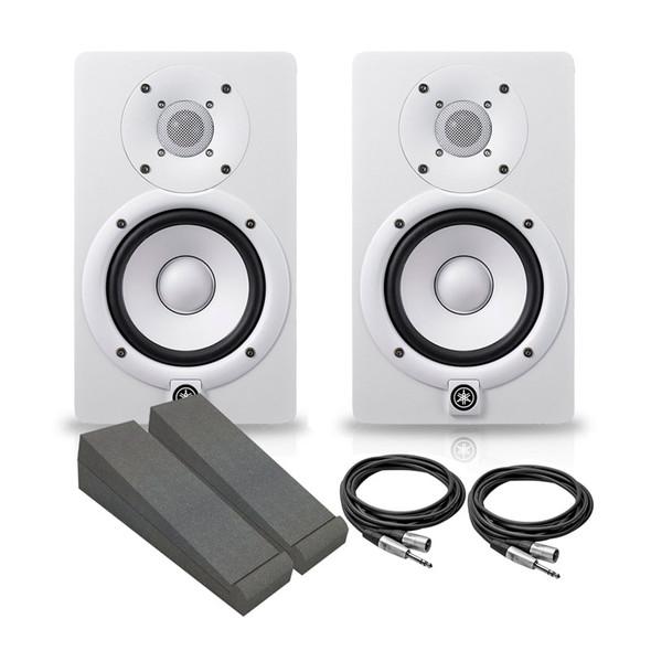 Yamaha HS5W Active Studio Monitor Bundle, White
