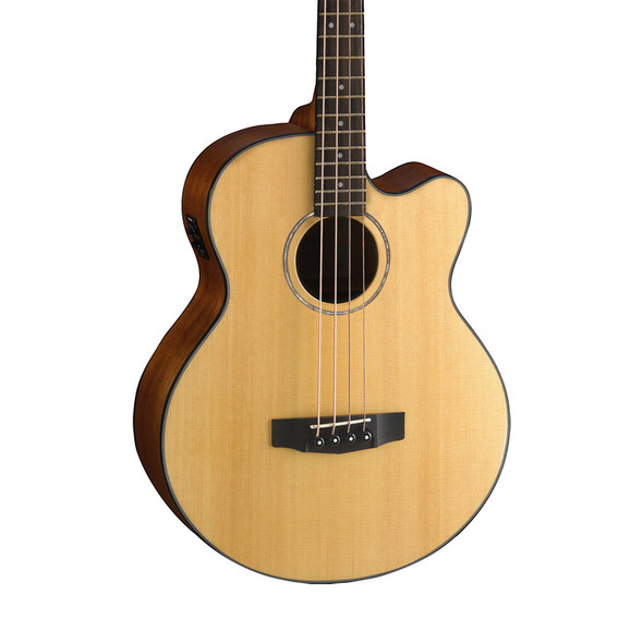 Cort AB850F Electro-Acoustic Bass Guitar with Gig Bag, Natural