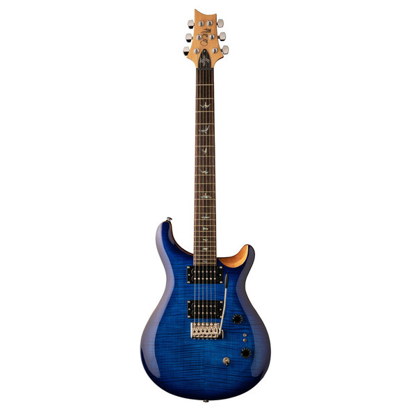 PRS SE Custom 24 35th Anniversary Faded Blue Electric Guitar, Burst Flamed Maple