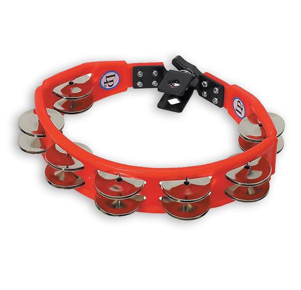 Latin Percussion LP161 Cyclops Tambourine, Steel Jingles, Red, Mountable