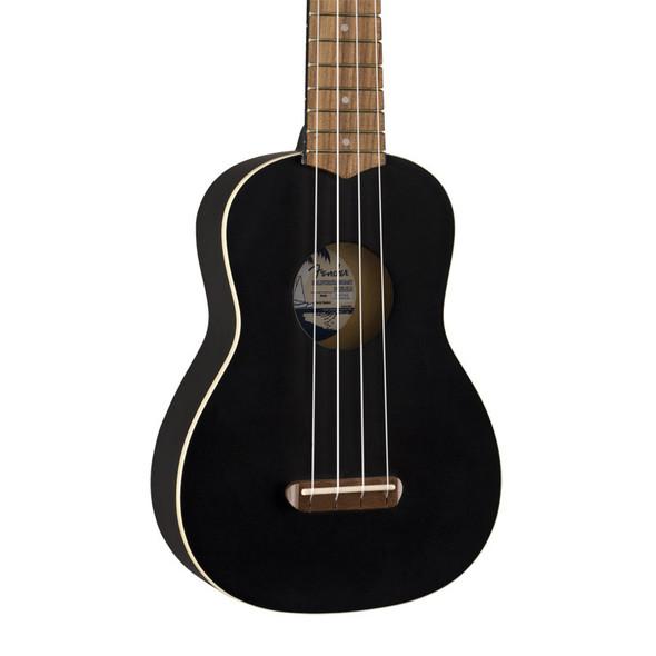 Fender Venice Soprano Ukulele, Black, Walnut Fingerboard