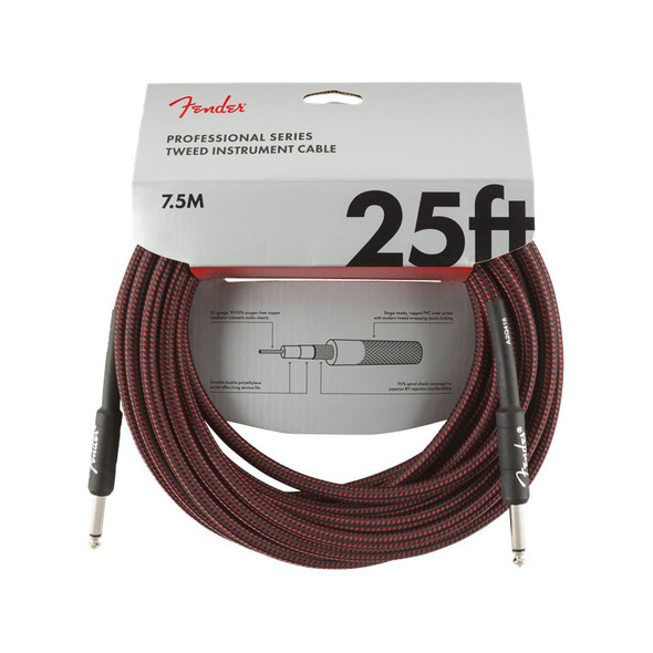 Fender Pro Series 25 foot Instrument Cable, Red Tweed