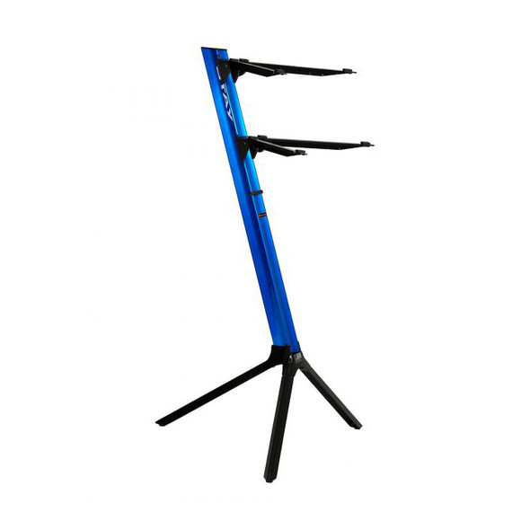STAY 1100/02 Slim Lightweight Two Tier Curved Top Arms Keyboard Stand, Blue